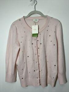 KATE SPADE Night Sky Rhinestone Wool/ Cashmere Cardigan Sweater Pink Medium