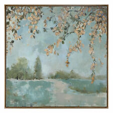 Cherry Blossoms Square Impressionist Tree Painting | Wall Art Large Soft Green