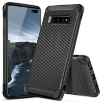 For Samsung Galaxy S10/Plus/S10e Black Carbon Fiber TPU Armor Hard Phone Case