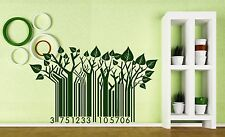Wall Sticker Vinyl Barcode Symbol Green Trees Take Care of Nature's Call (n200)