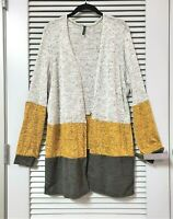 yellow/ grey color block open cardigan 1XL