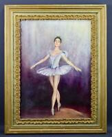 French Ballerina Tutu Dancer Portrait Oil Painting Frame Signed