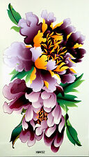 King Horse Big Purple Peonies with Leaves Temporary Tattoos HM452
