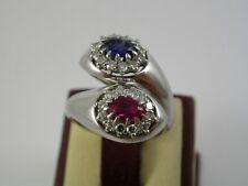 feiner Farbstein Diamant Ring Weißgold 750