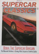 Supercar Classics Winter 1987 featuirng Maserati Bora, Alfa Romeo Giulietta