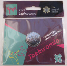 2012 50p OLYMPIC 23/29 TAEKWONDO MEDAGLIA appesa BAG brillantemente UNCIRCULATED @