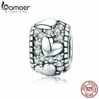 Bamoer 925 Sterling Silver charm Bead With CZ Bright Heart Fit Bracelets Jewelry