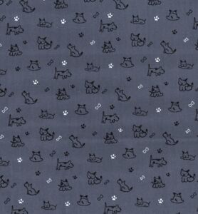 cotton 100% poplin dogs and puppies puppy grey fabric crafts  scrunchies masks