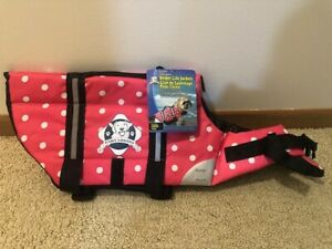 Paws Aboard Dog Life Jacket Vest for Swimming and Boating Pink Polka Dot LARGE