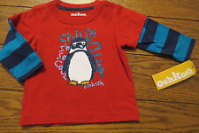 Boy LS Shirt Sz 9 mos Red w/Blue Sleeves Chillin Out Penguin Cotton OshKosh NWOT
