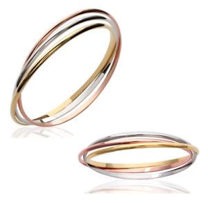 Bracelet Triple joncs 3 Ors Plaqué Or 18 carats 750/1000 Bijoux Femme