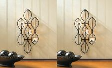 2 Propel Tealight Candle Black Rounded Frame w/ 3 Cup