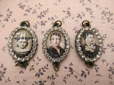 Vintage Style Rhinestone Charms w Antique Photos Portraits of Family Pendants