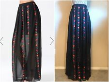 Bebe Floral Stitch Maxi Skirt Sjze S