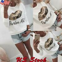 Women Casual Beaded Leopard Lips Print Sweater Ladies Round Neck Long Sleeve Top