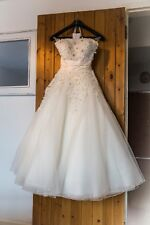 b77a4434771 Justin Alexander 8465 Floral and Tulle Tea Length Wedding Dress Size 10 (8)