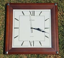 AS NEW CITIZEN SQUARE WOOD CLOCK WITH GOLD NUMERALS AND GLASS COVERING