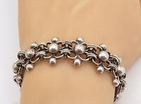 925 Sterling Silver - Vintage Floral Dome Designed Link Chain Bracelet - B8283