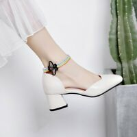 Women Casual Sweet High Heels Ankle Strap Butterfly Square Toes Chunky Med Heels
