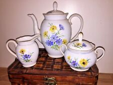 Antique SCHUMANN Bavaria Germany Blue Poppy Daisy Dresden Teapot Sugar Creamer