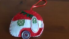 Felt Vintage Caravan Christmas Tree Decoration - Red/White