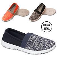 Womens Ladies Flat Pumps Espadrilles Plimsoll Slip On Comfort Trainers Shoe Size