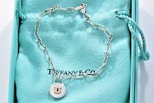 Tiffany & Co Silver 18K Gold Circle Lock Keyhole Chain Link Charm Bracelet BOXED