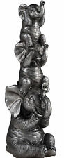 More details for hear see speak no evil triple stacked 22cm silver elephant ornament