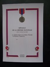 DIPLOME VIERGE MEDAILLE DEFENSE NATIONALE ECHELON ARGENT