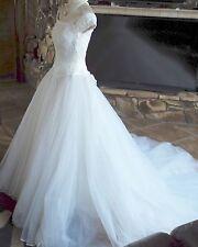 Mon Cheri Wedding Dress Shoulder Tip Tucked Bustier Layered Mesh Skirt Sz 6-8