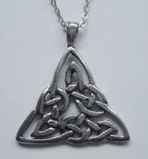 Chain Necklace #2363 Pewter CELTIC KNOT TRIANGLE (28mm x 31mm)