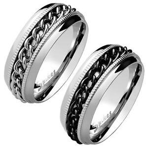 Facettierter Herren Damen Spinner Ring Ketten Style Center Edelstahl Silber