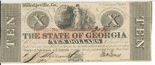 1862 Georgia Milledgeville $10 CR-4 CU Red Band #31361 US Civil War Era
