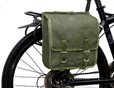 1980s Army Issue Showerproof Canvas Pannier Bag retro green bike quality vintage