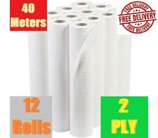 "12 x Couch Rolls White 20""/ 40m Bed Hygiene, Beauty Salon,  Massage, 2ply Paper"