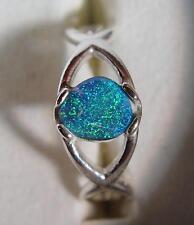 Sterling ring bright blue, green, teal  0.53 carat natural Australian Black Opal