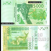 2003 / 2014 WEST AFRICAN STATES Senegal 5000 francs Banknote  SEQUENTIAL NUMBERS