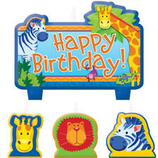 Jungle Animals Mini Candle Set (4pc) ~ Birthday Supplies Party Cake Decorations