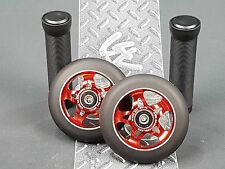 Red Pro Star Black Metal Core Scooter Wheels x2 + Grips + GK Grip Tape