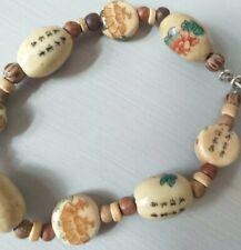 Chinese Buddha Character Round Beads Wooden Bracelet