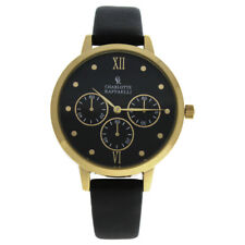 Charlotte Raffaelli CRB016 La Basic - Gold/Black Leather Strap Watch for Women