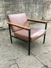 Retro Industrial Faux Leather Armchair Danish Scandinavian Design 60s 70s