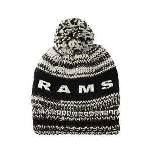 NFL Los Angeles Rams Moto Marled Pompster Cuffed Pam Knit Beanie Hat Cap