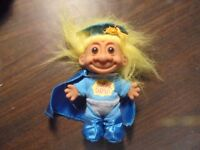 """RUSS """" Blue Suit & Cape """"Super Grad"""" With Yellow  Hair""""  Troll Doll  5"""""""