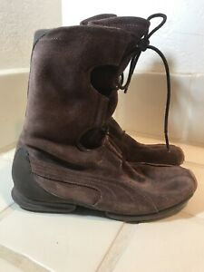Puma Womens Mahanuala 8.5 Brown Suede Lace Up Mid Calf Boots Wrestling Leather