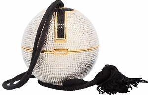 Yy Judith Leiber Crystal Bag Ball Tassel Rhine Silver Gold Black Minaudière