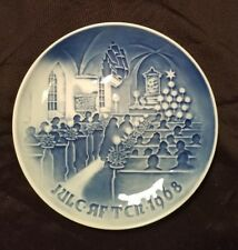 Copenhagen Porcelain Christmas Plate 1968 Christmas in Church Blue