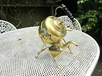 Old Antique Original Edwardian Brass Spirit Kettle On Stand made England c1905