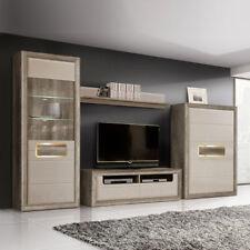 Wohnwand 2 Tizianos Anbauwand Wohnkombi beige Hochglanz und Antik Eiche mit LED