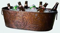 Large Oval Copper Beverage Party Tub Cooler Ice Tub Wine Chiller or Beer Bucket